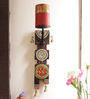 Aapno Rajasthan Multicolour Wooden Artificial Bell Motif Designer Candle Stand