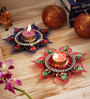 Aapno Rajasthan Pink & Blue Wax Floral Floating Candles - Set of 2
