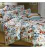 Aapno Rajasthan White Cotton Floral Double Bed Sheet (with Pillow Covers) - Set of 3