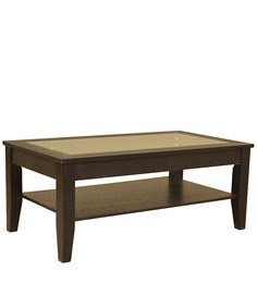 Abby Glass Top Veneer Centre Table in Dark Brown Colour by HomeTown