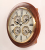 Abbot Retro Wall Clock in Brown by Amberville