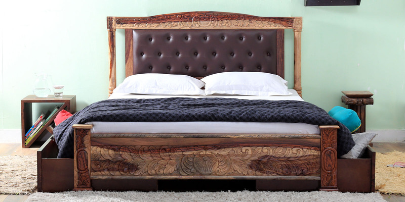 Walter King Size Bed with Storage in Provincial Teak Finish by Amberville