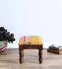 Adhiraj Stool with Patchwork in Orange Color by Mudramark