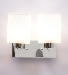 Aesthetics Home Solution Contemporary Chrome Finished Designer Glass Wall Light With 2 Lamp Shades