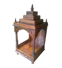 Afydecor Traditional Open Designed Pooja Mandir With Round Ornate Legs