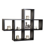 Afydecor Black Ply Wood Multiple Cubbies Wall Shelf