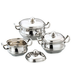 Airan Square Stainless Steel Hard Anodized Lidded Handi - Set Of 3