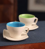 AION Multicolor Ceramic 100ML Matte Cup and Saucer set of 6