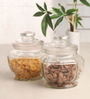 Aion Transparent Cylindrical 1 L Jar - Set Of 2