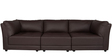 Alia Deep Comfortable Three Seater Sofa in Brown Leatherette by Furny