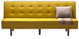 Alia Three Seater Sofa Bed in Yellow Colour by Furny