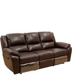 Alexander Half Leather Three Seater Electric Recliner in Mocha and Cream Colour by HomeTown