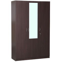 Allen Three Door Wardrobe With Mirror in Walnut Finish by HomeTown