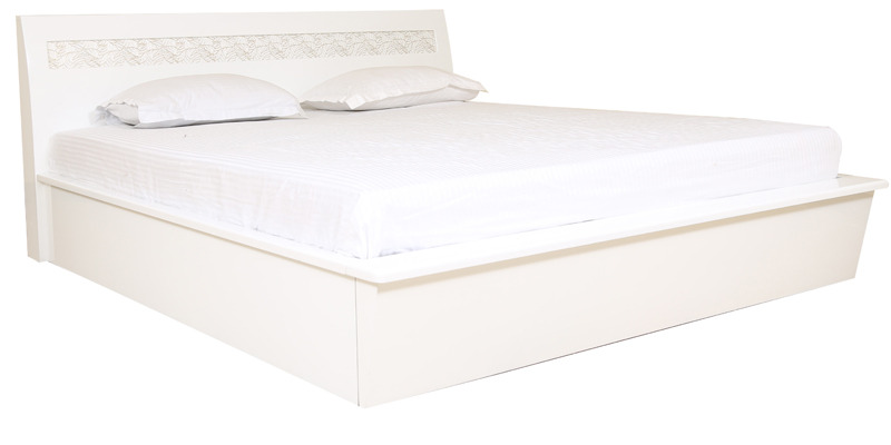 Alicia High Gloss King Bed With Hydraulic Storage in White Colour by HomeTown