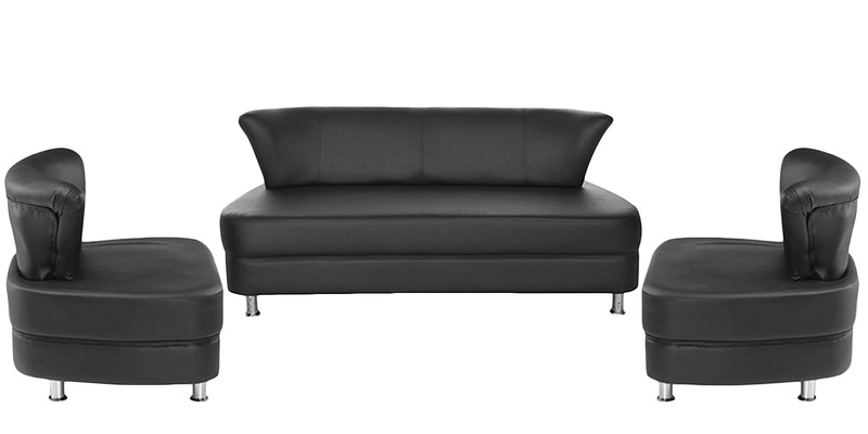 Almond (3 + 1 + 1) Seater Sofa Set in Black Colour by Nilkamal