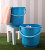 All Time Plastic 25 L Blue Buckets with Handle - Set of 2