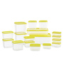 All Time Polka Yellow Rectangle Storage Container - Set of 17