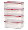 All Time Transparent Rectangle 1.2L Lock & Safe Container - Set of 4
