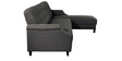 Amalia LHS Three Seater Sofa with Lounger in Dark Grey Colour by CasaCraft
