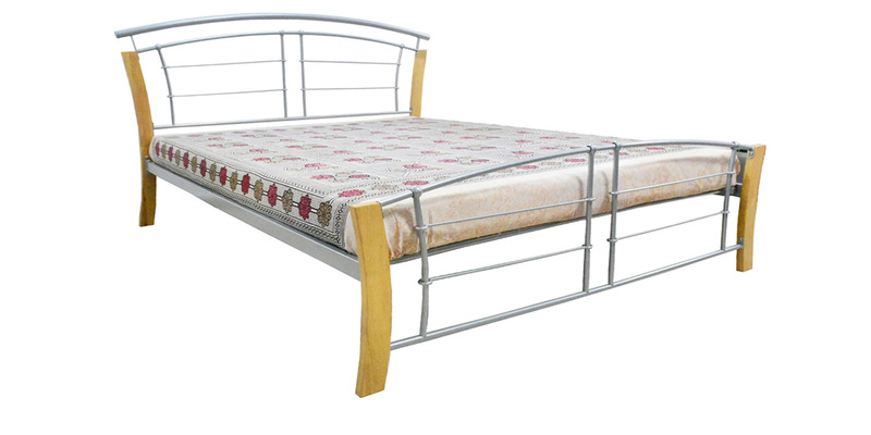 Amos Queen Size Bed in Silver Colour by Eros