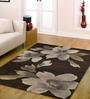 Ambadi Brown Polypropylene Floral Carpet