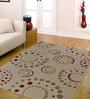 Ambadi White Polypropylene Striped & Checkered Carpet