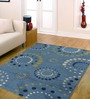 Ambadi Blue Polypropylene Abstract Carpet