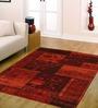 Ambadi Orange Polypropylene Abstract Carpet
