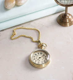 Anantaran Gold Yellow Brass Pocket Watch Chain 24 Hrs