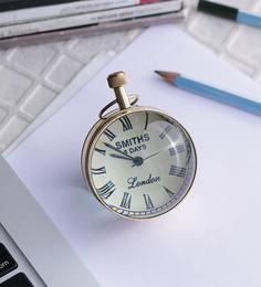 Anantaran Handmade Paper Weight Golden Brass Table Clock