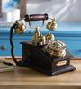 Anantaran Black Wooden Antique Chicago Brass Telephone