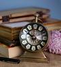 Anantaran Beautiful 3 Inch Dia Brass Table Clock Antique Finish