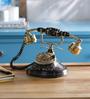 Anantaran Black Brass Round Hand Carved Retro Telephone