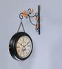 Anantaran Black Metal 11.5 x 3.5 x 18 Inch Retro Train Double Side Railway Wall Clock