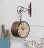 Anantaran Black Metal 11 x 6 x 16 Inch Vintage Handicraft Carved Double Side Railway Wall Clock
