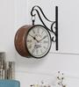 Anantaran Black Metal 12 x 5.5 x 12 Inch Replica Handmade Embossed Carving Clock Wall Station Clock