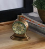 Anantaran Brown Brass Unique Trophy Stand Table Clock Antique Finish