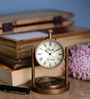 Anantaran Brown Brass Aesthetic Table Clock with Compass