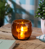 Anasa Orange Glass Diamond Head Cut Votive Tea Light Holder