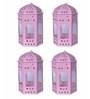 Anasa Pink Metal Lantern Set of 4