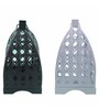 Anasa White & Black Metal Lantern Set of 2