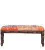 Animesh Bench with Patchwork in Provincial Teak Finish by Mudramark