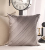 Anna Simona Grey Polyester 18 x 18 Inch Handcrafted Cushion Cover
