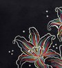 ANS Black Polyester 16 x 16 Inch Floral Embroidered Cushion Cover
