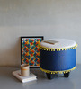 Aoki Pouffe in Indigo & Cream Color by Bohemiana