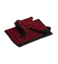 Aransa Retro Red Cotton Towel Sets - Set of 3