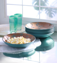 Ardacam Elit Deep Brown & Opaque Blue Glass 250 ML Soup Plates - Set Of 6