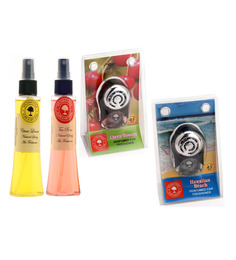 Aromatree Citrus Lemon & Tea Rose Natural Spray with Cherry Blossom & Hawaiian Beach Car Perfume