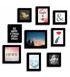 Art Street Black Fibre Wood Quote Happiness & Smile Theme Wall Quote Photo Frame - Set Of 9