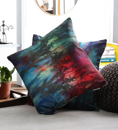 Artesano Multicolour Velvet 16 X 16 Inch The Palm Island Cushion Cover - Set Of 2